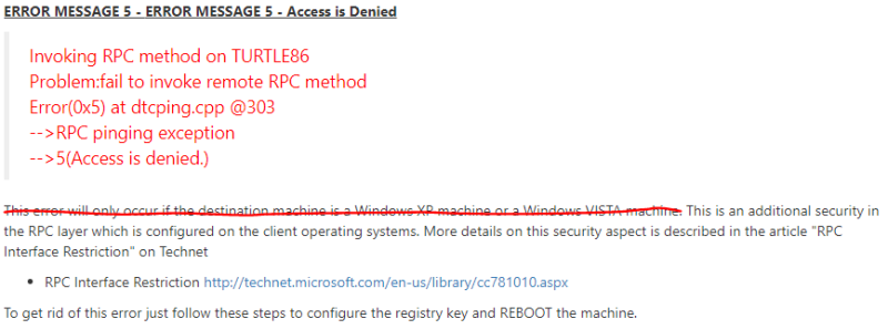 Access is denied – Using DTCPing utility between two Windows